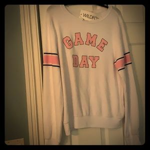 Wildfox sweatshirt game day white medium